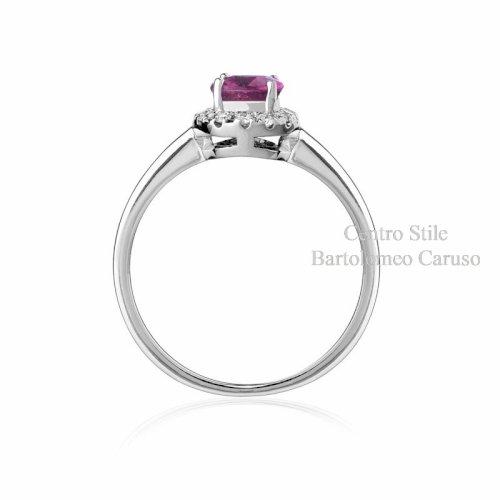 Anello Zaffiro Rosa e Diamanti